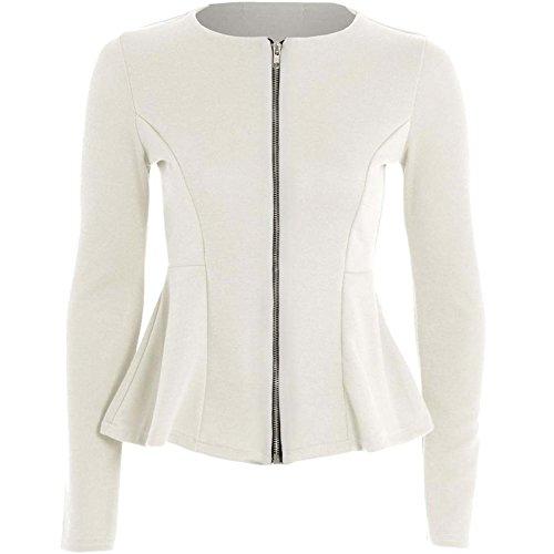 Damen Reißverschluss schößchen Rüsche Plus Größe Blazer Jacke Top Größe 8–26 Gr. 36, cremefarben Plus Größe Peplum Jacke