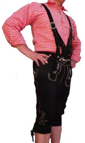 Bangla 1523 Lederhose Trachten Kniebund Wildleder mit Trägern in V-Form schwarz Gr. 48