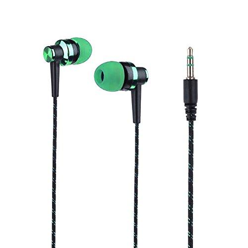 BANGLE009impermeabile elegante intrecciato linea musica stereo In-Ear cuffia auricolare senza mic–nero per iPhone, iPad, iPod, lettori MP3, Samsung, ecc. Green