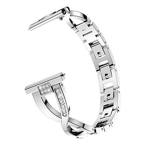 TPulling Huawei B5 Uhr Armband Metallkristall Edelstahl Uhrenarmband Handgelenk Bügel Ersatzarmband Handschlaufe (Silber)