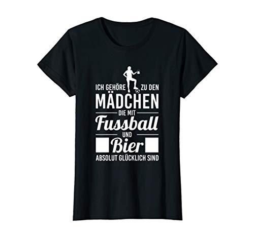 Damen Lustig Fußballerin Bier Saufen Fussball Fan Mädchen T-Shirt