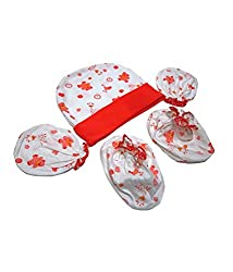 Baby Basics - Cap Mitten Booties Set - Red