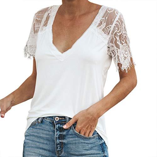 IZZB Damen Bluse Tanktops Weste Damen Top Oberteil Sommer Hemd Lässig Solide Spitze Ärmel Soild Splice V-Ausschnitt Tunika (Weiß, M) -