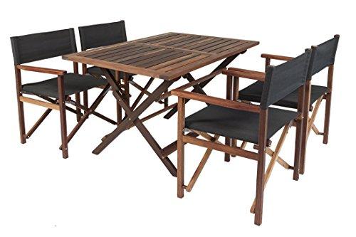 Gartenmöbel Set 'Schwarz', aus exklusivem Mahagoni Hartholz, geölt (4 XL Regiestühle und Gartentisch 120 x 80 cm), klappbar  - Tisch Mahagoni-holz Gartenmöbel