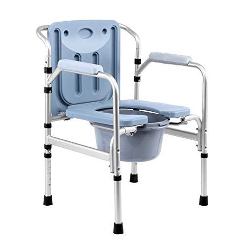 Gxnimer Stuhl Folding Bedside Kommode Seat - WC-Sitz WC Medical Höhenverstellbare Sicherheit Aluminium Frame Portable Sitz Stuhl Hocker Mit Deckel Für Erwachsene, Handicap, Ältere Schwangere Frau