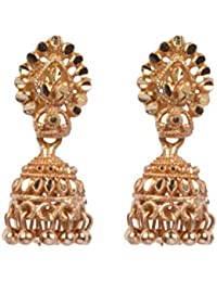 Beadworks Gold Plated Brass Stylish, Traditional Jhumki Style Stud Earrings For Women - B0781TWFCD
