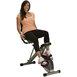 Exerpeutic (EXER6) Unisex Exerpeutic 400XL Folding Pulse Recumbent Exercise Bike, Grey Black, One Size