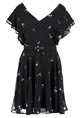 Guess Damen Kleid Abito Pepita Dress, Mehrfarbig (Dots and Daisy Black Pzc9), Large (Guess Daisy)