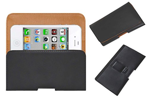 Acm Belt Holster Leather Case For Apple Iphone 4 Cdma Mobile Cover Holder Clip Magnetic Closure Black