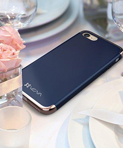 """iPhone 7 hülle, Vena [Mirage][Chrom] Dock-Freundlich Slim-Fit Schutz Hart Case Cover für Apple iPhone 7 (4.7"""") - Schwarz / Rose Gold Blau / Rose Gold"""