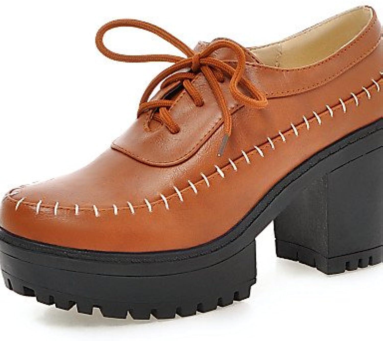 NJX/ hug Zapatos de mujer - Tacón Robusto - Tacones - Tacones - Casual - Semicuero - Negro / Amarillo / Blanco...