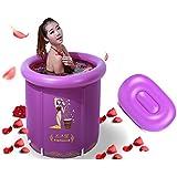 WCUI Portable Doblan la bañera inflada 65 × 70CM Plástico más grueso Ninguna cubierta Barriles del baño Lavabo de la colada del niño Adulto Baño del sudor Baño del baño Cilindro Potes Piscina Seleccionar ( Color : Purple , Tamaño : 75*70CM )