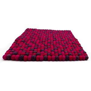 feelz – Filz Sitzkissen aus Filzkugeln beere lila pink aubergine 35×35 cm quadratisch Filzkissen Stuhlkissen Sitzauflage…