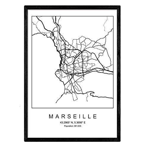 Marseille Schlafzimmer (Nacnic Drucken Marseille Stadtplan nordischen Stil schwarz und weiß. A3 Größe Plakatrahmen Das Bedruckte Papier Keine 250 gr. Gemälde, Drucke und Poster für Wohnzimmer und Schlafzimmer)