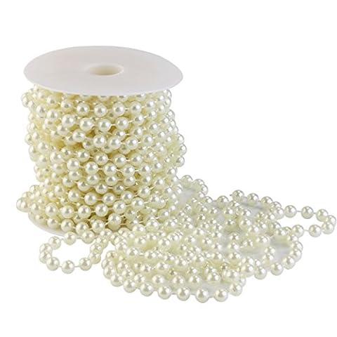 Tinksky Guirlande de Perles Acrylique Collier Chaîne Bobine Perles pour la Décoration de fête Bouquet de Mariée Mariage Faveur 10m