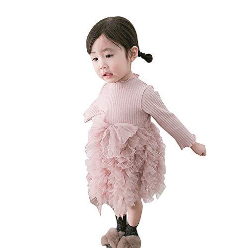 Huihong Baby Mädchen Süße Tutu Kleider Langarm Stricken Bogen Tüll Prinzessin Kleider Ballkleid Partykleider Birthday Kleider (Rosa, 6-12 Monate/80)