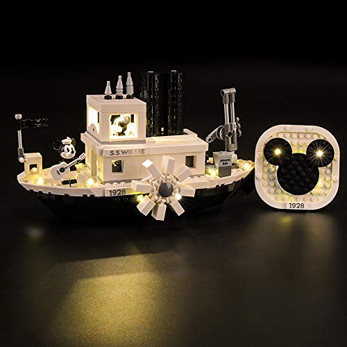 LIGHTAILING Conjunto de Luces (Mickey Mouse Steamboat Willie) Modelo de Construcción de Bloques - Kit de luz LED Compatible con Lego 21317 (NO Incluido en el Modelo)