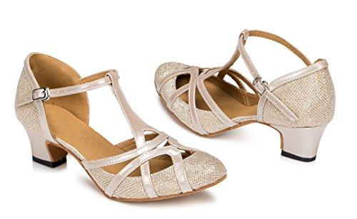 F&M Fashion , Sandales Compensées femme Marron - 5cm Champagne