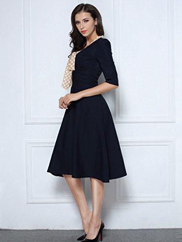 Miusol Damen V-Ausschnitt Schleife Cocktailkleid Faltenrock 50er 60er Jahr Party Stretch?Kleid Blau Gr.L - 6