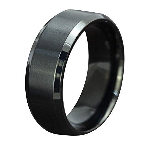 Contever® Damen / Unisex / Herren Edelstahl Herr der Ringe Trauringe Verlobungringe Durchmesser 23.1 MM (Schwarz) (Brettspiel Paar Kostüme)