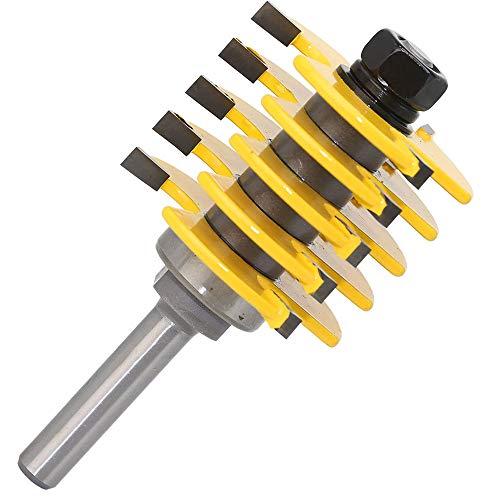99native 8mm Schaft Einstellbare Box & Finger Joint Fräser Holzbearbeitung Cutter Tools,Einsteckschloss Vorlage Holzschneider Holzbearbeitung Fräser Werkzeug für Holz (Gelb)