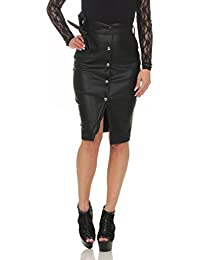 11045 Fashion4Young Damen Rock Minirock Knielanger Rock Lederimitat  Bodyconrock Slimline Skirt 33ef8666e2