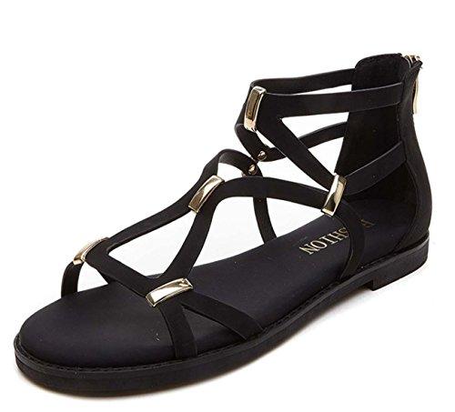 Sandali romani sandali moda sandali donne estate ascensore studenti talloni cuneo Black