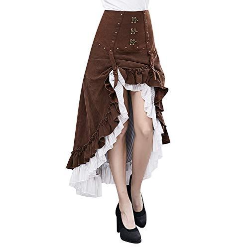 XC Steampunk Unregelmäßiger Rock, Weibliche Halloween-Kostüm Cosplay Kostüm Musik Festival Kostüm Party-Kostüm, Braun,L (Kostüme Weibliche Western)