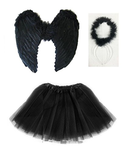 k schwarz Kids Black Angel Costume (Wings + Halo + Tutu) ()