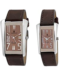 Timewear Analog Brown Dial Unisex Couple Watch - 908Bdtcouple