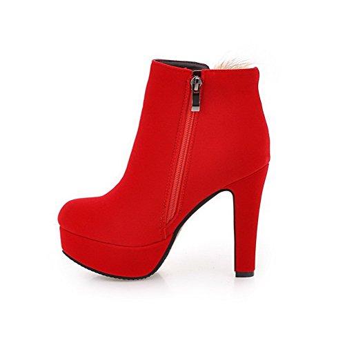 AgooLar Damen Rund Zehe Hoher Absatz Reißverschluss Niedrig-Spitze Stiefel, Rot, 36