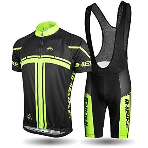 INBIKE Ropa Verano Conjunta de Ciclismo de Hombre Culotte Ciclismo Hombre Traje Maillot Camiseta + Pantalones para Bicicleta (S)