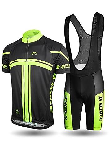 INBIKE Combinaison Cyclisme Maillot Cycliste Cuissard A Bretells Vélo Tenue VTT à Manche Courte Printemps Eté pour Homme(XL)