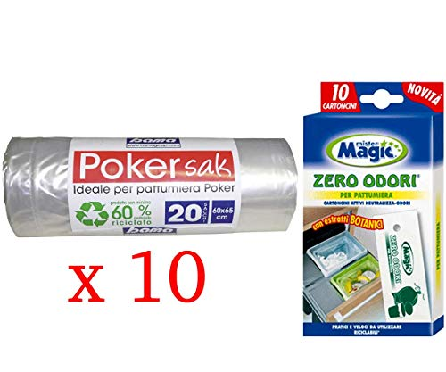 Poker Bama Sak, Sacchetti Pattumiera, 60x65 cm, 10 confezioni da 20 sacchi