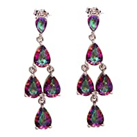 Multi-Coloured mystic topaz earrings in the form of Drop and Silver Plated 925