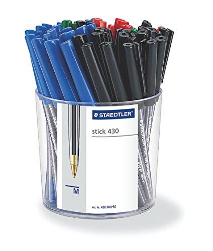 Staedtler 430 MKP 50 stick línea de bolígrafo mm de ancho, 0,45 mm, tapa y clip en color de la escritura, 50 piezas en paquete aljaba