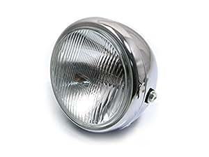 Phare acier chrome universel 17cm moto avec ampoule 12V 55W