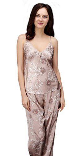 NiSeng damen und herren bademäntel seide satin schlafanzug liebhaber nachthemd einstimmenden set Damen Kamel