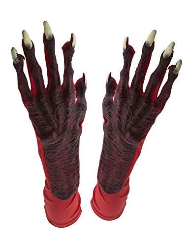 Karnevalsbud - Kostüm Accessoires Zubehör Teufel Handschuhe mit ekligen Fingern Krallen und Langen Fingernägeln, Gloves Devil, perfekt für Halloween Karneval und Fasching, Rot