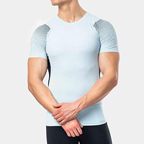 Noctiflorous Unterwäsche für Kompressionskleidung, schnell trocknendes Fitness-T-Shirt, Kurzarm-Trainingsanzug für Männer, Blue_L