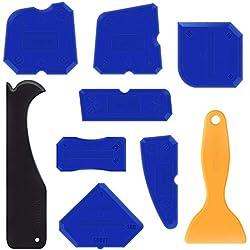 Amteker 9 Pièces Lisseur Joints Silicone et Outils de Calfeutrage pour Salle de Bain Cuisine et Joint Mastic Silicone Coulis Remover
