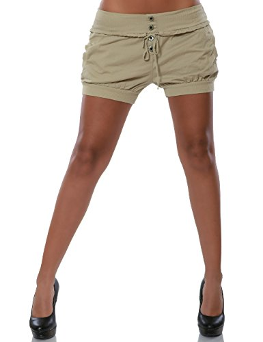 Damen Shorts Chino Hot-Pants Kurze Sommer Hose Luftige Stoffhose in Angesagten Farben No 15655 Beige 36 / S