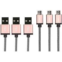 Micro USB Cable cabbrix® [3-Pack] 1,5m–2m de largo Nylon 2,4A [USB Carga Rápida Cable] sincronización de alta velocidad y cable de carga Android Smartphones para Samsung Galaxy S7/S7Edge/S6/S5Neo/S4/S3, Note 5/4/3, HTC, LG, Sony, Nexus, Blackberry, Nokia, Motorola, Huawei, Kindle, Xbox, PS4 Rosè Gold 3x 2m
