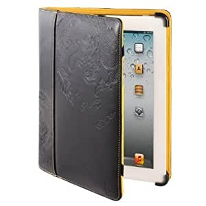 Maroo Drago Apple iPad 2/3/4 Leather Folio Case with Bumper Technology and Stand - Black