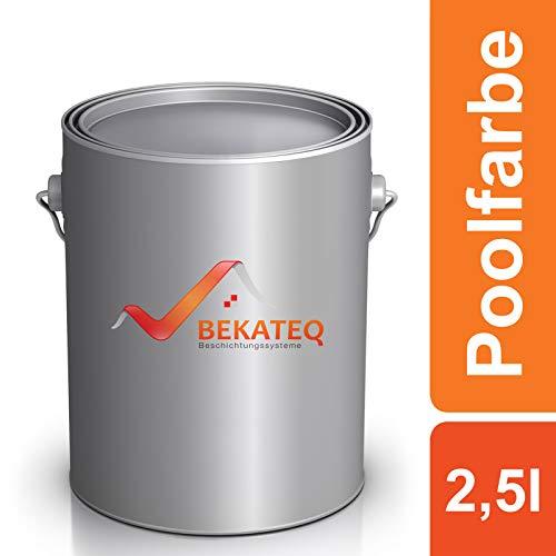 Bekateq Poolfarbe LS-400, weiss 2,5l seidenglänzend, Schwimmbadfarbe Chlorkautschukfarbe für mineralische Untergründe wie Beton, Mauerwerk, Putz