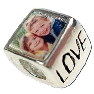 Quiges Fashion Jewels 925 Silber Foto Charm Bead (für eigene Foto) Love kompatibel mit Pandora