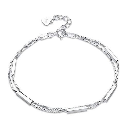 B-d bracciale da donna in argento sterling 925 bracciale semplice tendenza a doppio strato bracciale in argento moda coreano gioielli regalo (17cm)