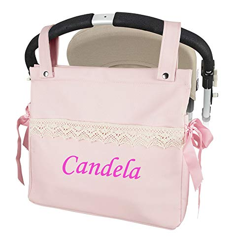 Imagen para Bolso Talega Carrito bebe Personalizada Lactancia Polipiel Con Nombre Bordado - Color Rosa- Danielstore