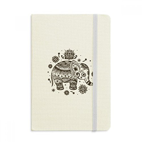 DIYthinker Nation Elefant Blumen-Schwarz-Blau Tier Notebook Stoff Hard Cover Klassisches Journal Tagebuch A5 A5 (144 X 210mm) Mehrfarbig (Nation Notebook)