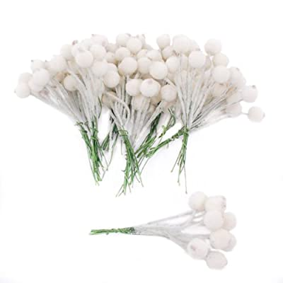 120 White Frosted Berries 12mm on wire for Christmas craft use
